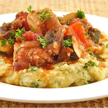 Pork and Vegetable Stew with Parsley Polenta