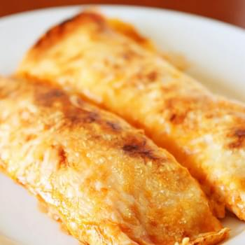 Cheesy Chicken Enchilada Style Burritos