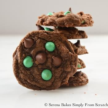 Double Chocolate Mint Chip Cookies