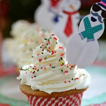 Snowman Spiced Poppyseed Cupcakes with Whipped Cream Frosting