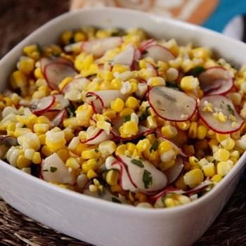 Sweet Corn Salad with Radishes, Jalapeno and Lime