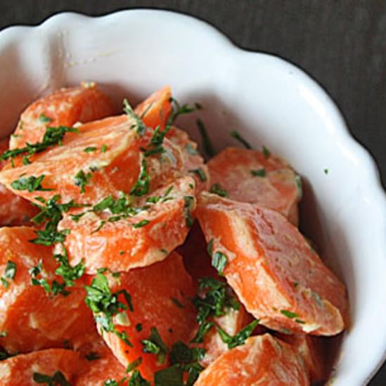 Steamed Carrots with Lemon-Tahini Dressing
