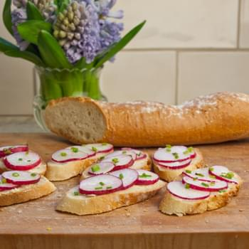 Sliced Baguette with Butter, Radishes & Sea Salt