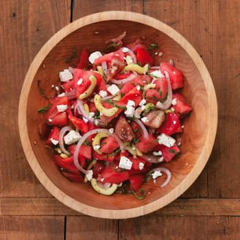 Tomato and Watermelon Salad with Feta Cheese