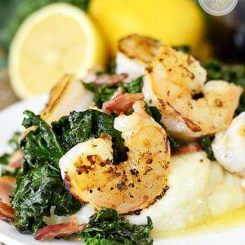 Crispy Bacon Kale and Shrimp with Lemon Butter Pan Sauce