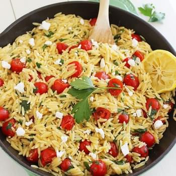One-Pan Greek Orzo with Tomatoes and Feta