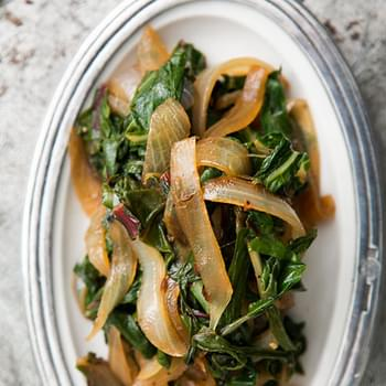 Sautéed Chard and Onions with Caraway