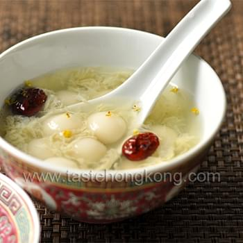 Baby Tang Yuan or Glutinous Rice Balls in Boozy Sweet Soup