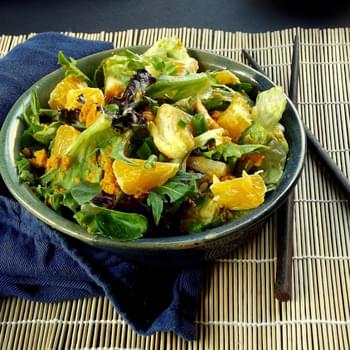 Japanese Green Salad with Carrot Ginger Dressing