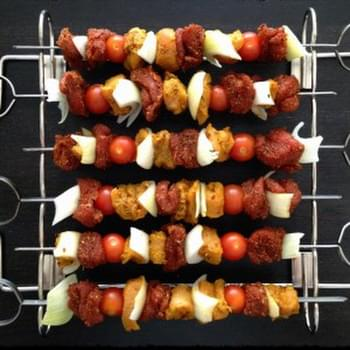 Mango-Curry Chicken/BBQ Pork Tenderloin Skewers