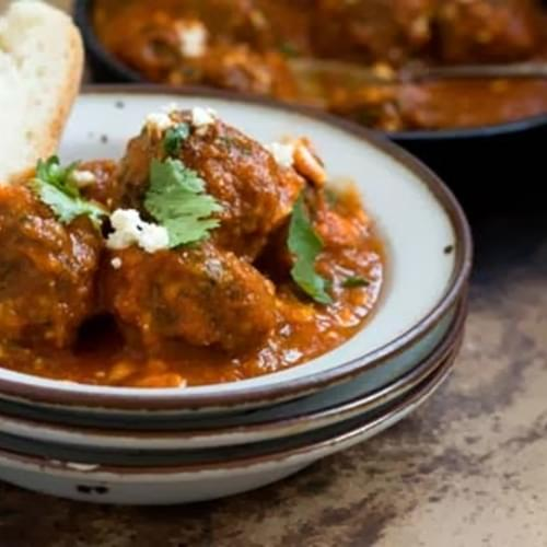 Tex-Mex meatballs in a chipotle-tomato sauce
