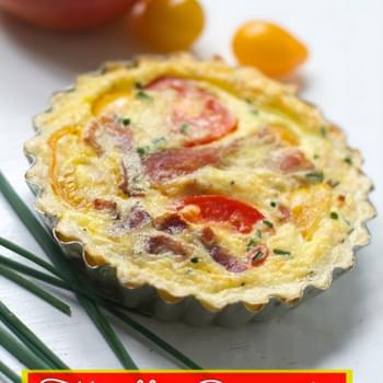 Tomato Bacon Cheddar Quiche with Tortilla Crust