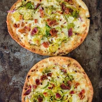 Pita Pizza with Brussels Sprouts and Bacon