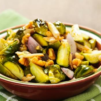Garlic Roasted Brussels Sprouts with Onions & Walnuts