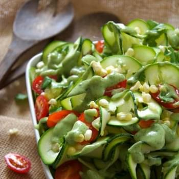 Sweet Corn, Cherry Tomato & Zucchini Salad with Avocado Ranch Dressing