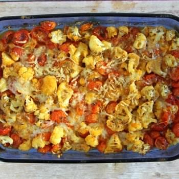 Cauliflower Tomato Bake with Basil and Parmesan