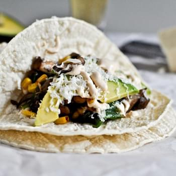 Grilled Corn, Mushroom + Roasted Poblano Tacos