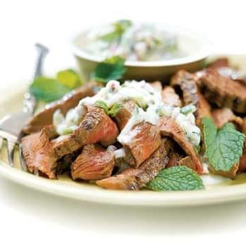 Beef with Cucumber Raita recipe – 176 calories