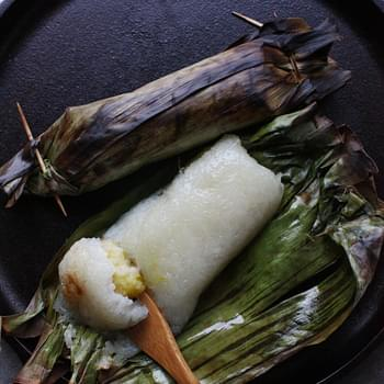 Thai Grilled Sweet Sticky Rice with Banana Filling (ข้าวเหนียวปิ้งไส้กล้วย)