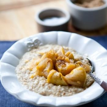 Steel-Cut Oats with Maple-Roasted Apples and Cheddar