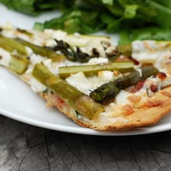 Bacon Asparagus Pizza with Caramelized Onions & Basil