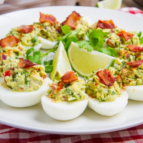 Bacon Guacamole Deviled Eggs