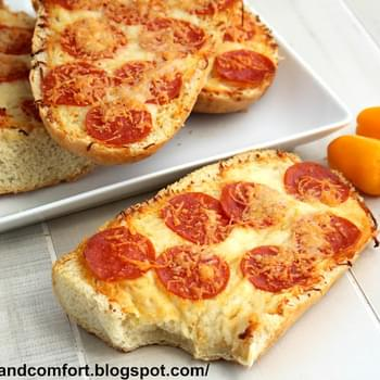 Garlic and Pepperoni French Bread Pizzas