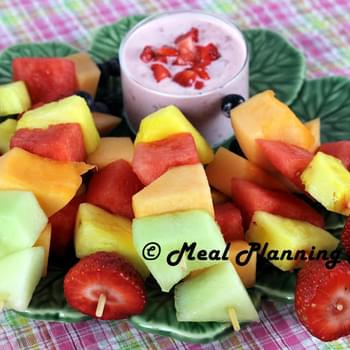 Mini Fruit Kabobs with Strawberry Yogurt Dip