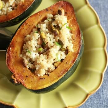 Roasted Acorn Squash with Quinoa and Pistachios