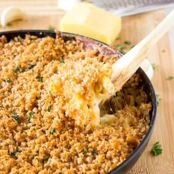 One Skillet Three Cheese Baked Macaroni and Cheese