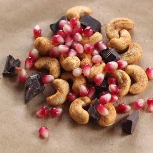 Cashew, Chocolate and Pomegranate Snack Mix (a.k.a. Oddly Good Snack Mix)