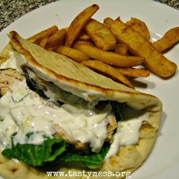 Slapdash Greek-Style Chicken Flatbreads