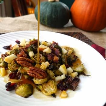 Roasted Brussels Salad with Pecans, Bacon and Apple Cider Dressing