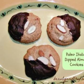 Chocolate Dipped Italian Almond Cookies