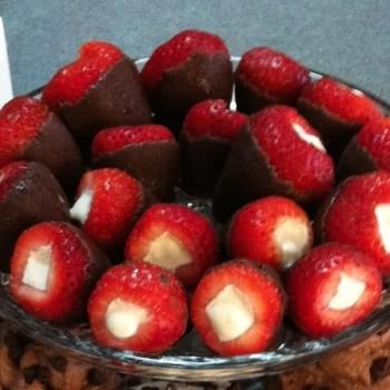 Dark Chocolate Covered, Cheesecake Stuffed Strawberries