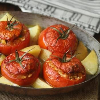 Greek Baked Stuffed Tomatoes with Rice (Yemista)