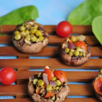 Stuffed Pea and Garlic Mushrooms