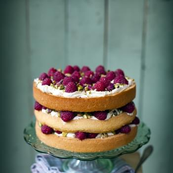 Raspberry, Pistachio and Rose Cake