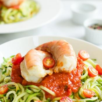 Zucchini noodles with Tomato Sauce and Shrimp