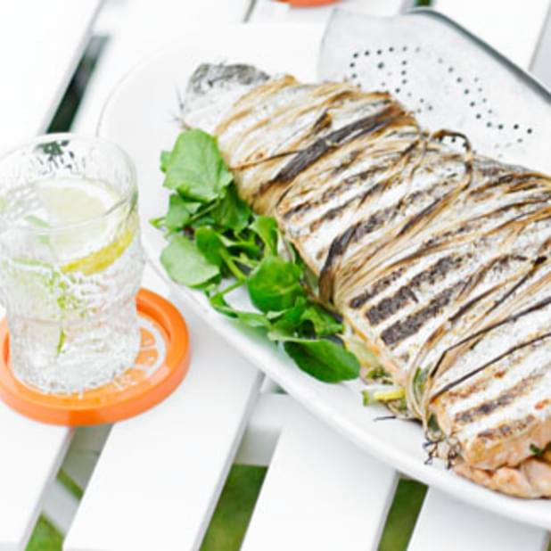 BBQ salmon fillet with lemon and dill