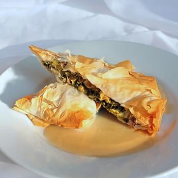 Wild Mushroom, Swiss Chard & Goat Cheese Strudels with Bourbon Cider Sauce