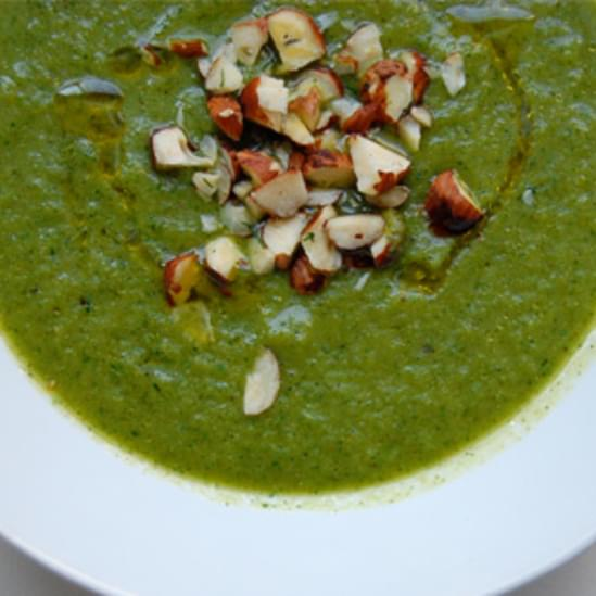 Chilled Grilled Zucchini Soup with Watercress, Dill and Lemon Zest