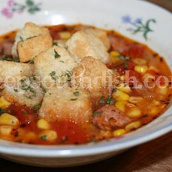 Spicy Cajun Sausage and Corn Soup