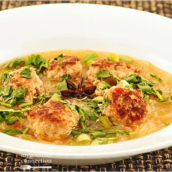Chicken Meatball Soup With Vietnamese Flavors