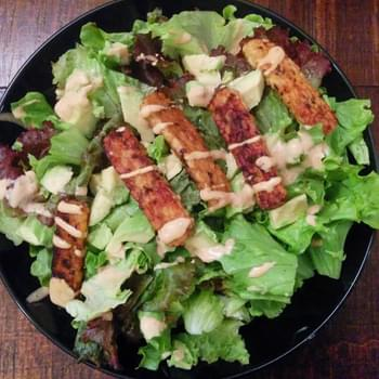 Protein-packed Post-Workout Recovery Salad with Avocado, Tempeh, & Tangy Tahini Lime Dressing