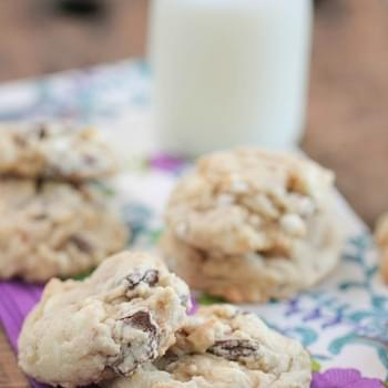 White and Chocolate Chunk Cookies with Marshmallow Bits and Toffee