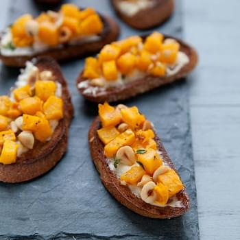 Roasted Pumpkin Hazelnut Crostini