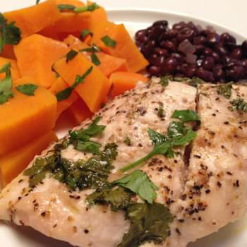 Roasted Lime Cilantro Chicken & Sweet Potatoes