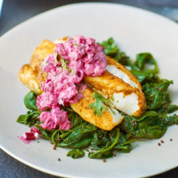 Madras-spiced Fish With Beetroot Raita