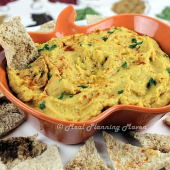 Butternut 'n Pumpkin Hummus with Pita Chips